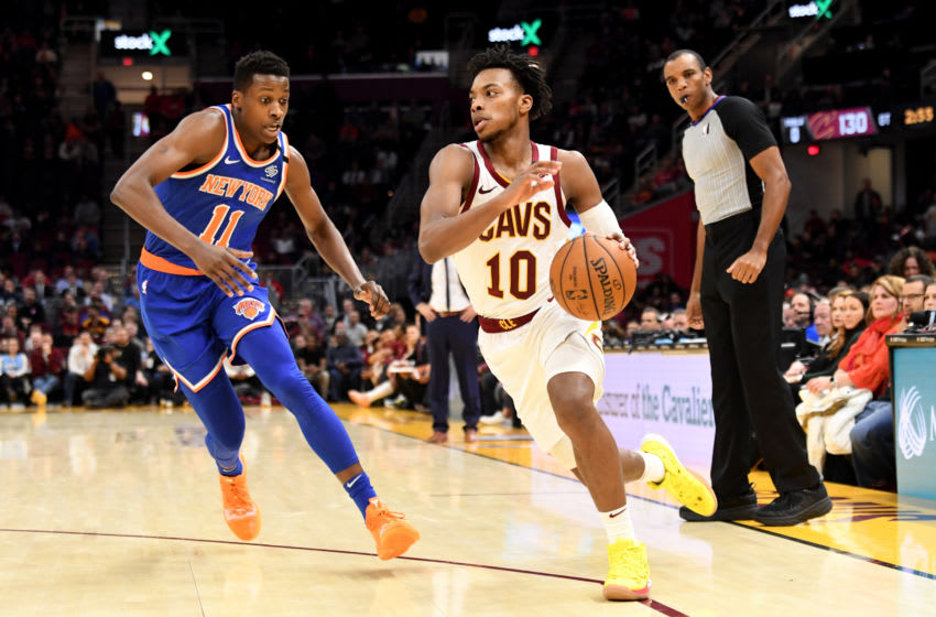 Cleveland Cavaliers guard Darius Garland handles the ball. (Photo by Jason Miller/Getty Images)