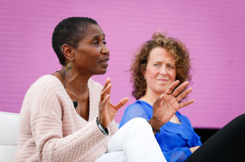 NBPA executive director Michele Roberts speaks at the Women in Leadership panel at the espnW Summit held at Resort at Pelican Hill on October 1, 2018 in Newport Beach, California. (Photo by Meg Oliphant/Getty Images)