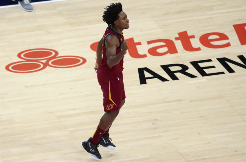 Cleveland Cavaliers guard Collin Sexton reacts in-game. (Photo by Brett Davis-USA TODAY Sports)