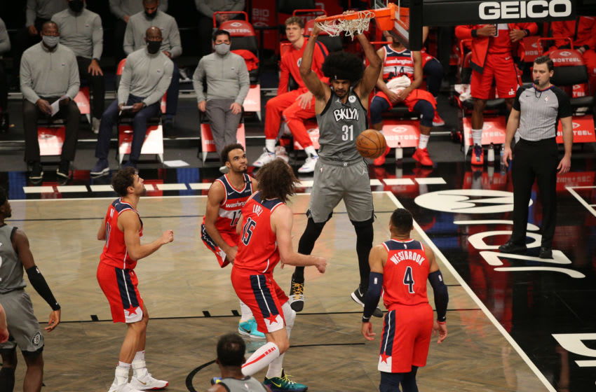 Big Jarrett Allen, formerly of the Brooklyn Nets, dunks the ball. (Photo by Brad Penner-USA TODAY Sports)