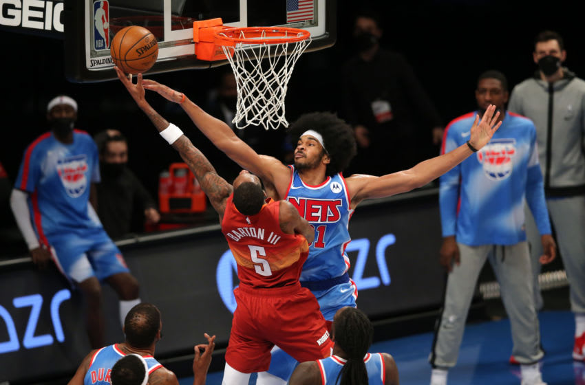 Big Jarrett Allen, pictured here with the Brooklyn Nets, blocks a shot. (Photo by Brad Penner-USA TODAY Sports)