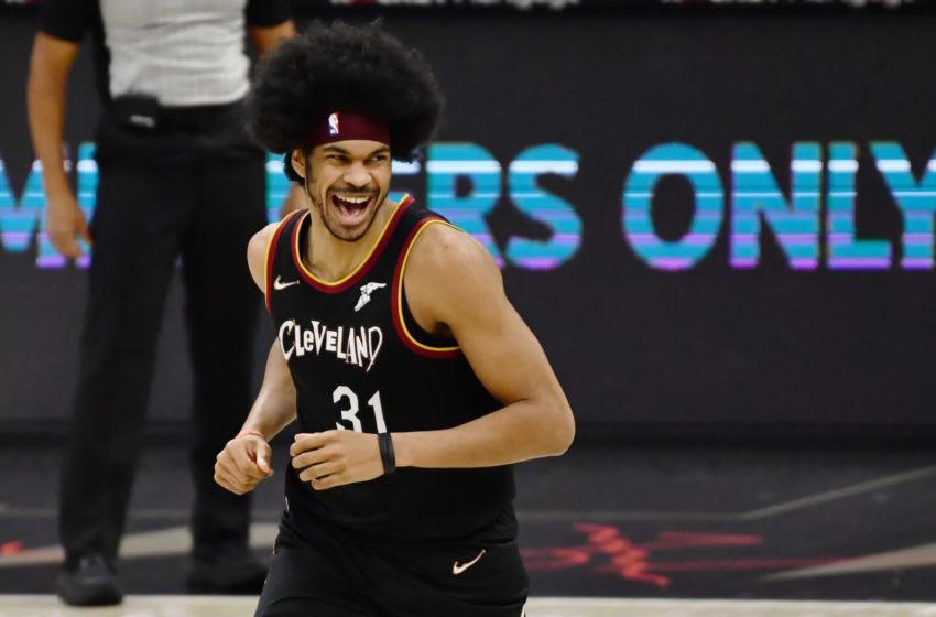 Cleveland Cavaliers big Jarrett Allen reacts in-game. (Photo by Ken Blaze-USA TODAY Sports)
