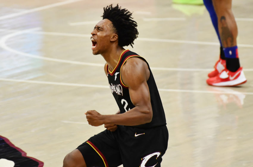 Cleveland Cavaliers guard Collin Sexton reacts in-game. (Photo by Ken Blaze-USA TODAY Sports)