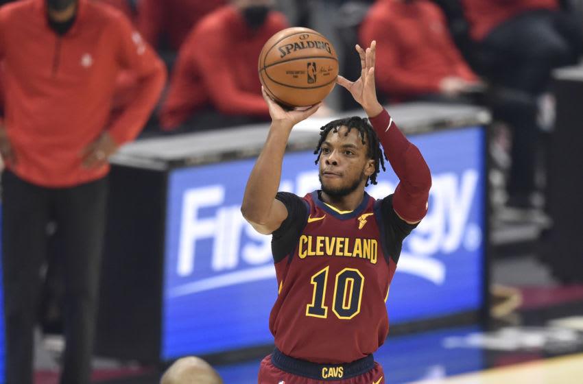 Cleveland Cavaliers guard Darius Garland shoots the ball. (Photo by David Richard-USA TODAY Sports)