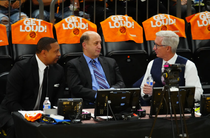 ESPN commentators Mark Jackson (left), Jeff Van Gundy (middle) and Mike Breen are shown during a playoff game between the LA Clippers and Phoenix Suns. (Photo by Mark J. Rebilas-USA TODAY Sports)