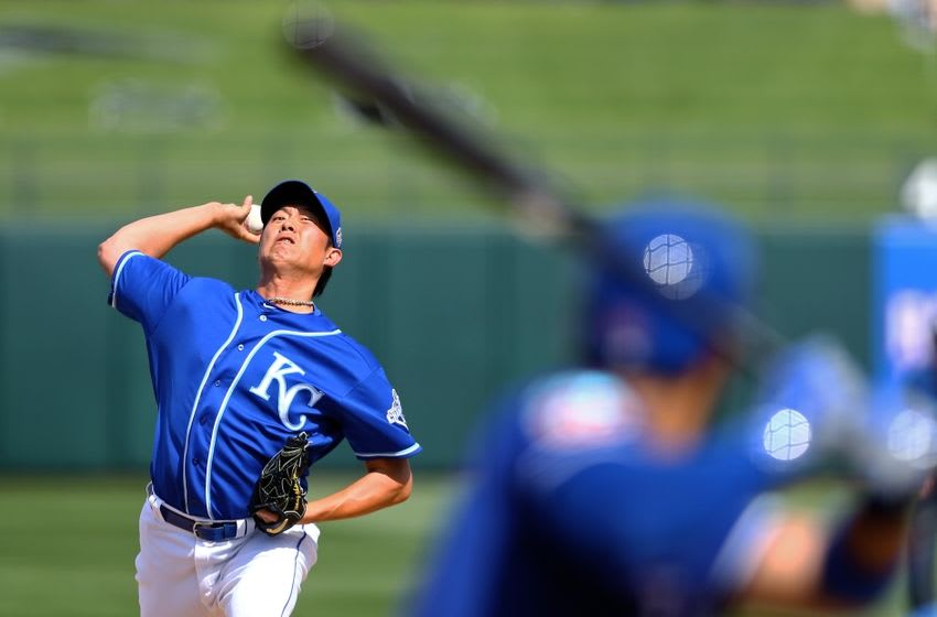 Mar 2, 2016; Surprise, AZ, USA; Kansas City Royals pitcher Chien-Ming Wang against the Texas Rangers during a Spring Training game at Surprise Stadium. Mandatory Credit: Mark J. Rebilas-USA TODAY Sports