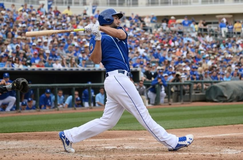 Mar 5, 2016; Surprise, AZ, USA; Kansas City Royals first baseman Eric Hosmer (35) swings the bat during the third inning against the Chicago White Sox at Surprise Stadium. Mandatory Credit: Joe Camporeale-USA TODAY Sports
