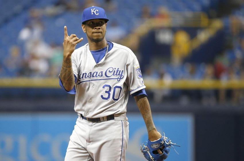 Aug 2, 2016; St. Petersburg, FL, USA; Kansas City Royals starting pitcher Yordano Ventura (30) on the mound against the Tampa Bay Rays at Tropicana Field. Mandatory Credit: Kim Klement-USA TODAY Sports