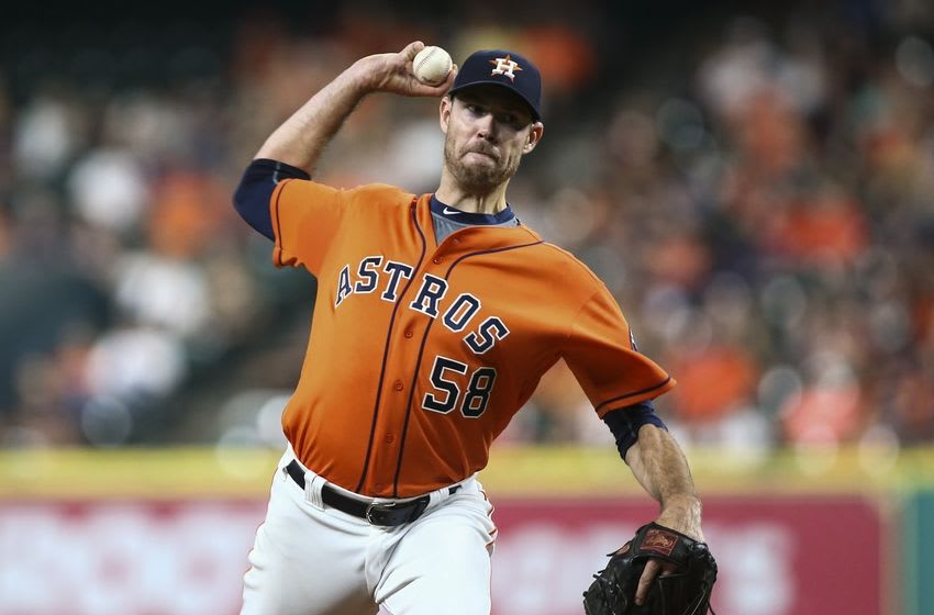 Sep 23, 2016; Houston, TX, USA; Houston Astros starting pitcher Doug Fister (58) delivers a pitch during the third inning against the Los Angeles Angels at Minute Maid Park. Mandatory Credit: Troy Taormina-USA TODAY Sports