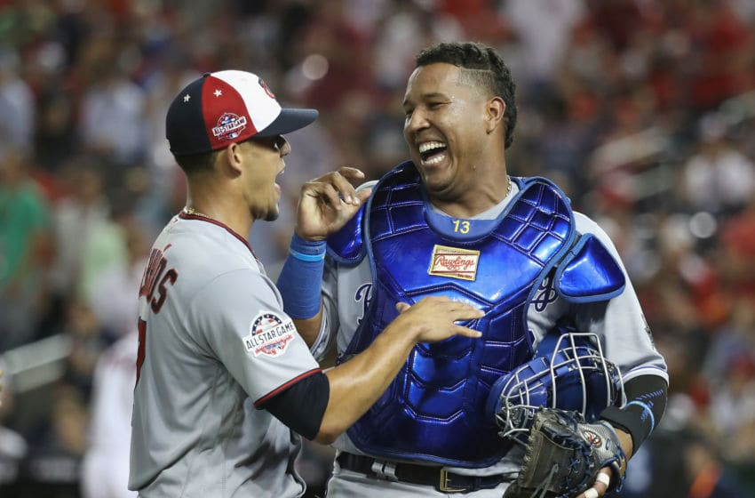 WASHINGTON, DC - JULY 17: Jose Berrios #17 of the Minnesota Twins and the American League and Salvador Perez #13 of the Kansas City Royals and the American League walk off the field after the last out in the fifth inning against the National League during the 89th MLB All-Star Game, presented by Mastercard at Nationals Park on July 17, 2018 in Washington, DC. (Photo by Rob Carr/Getty Images)