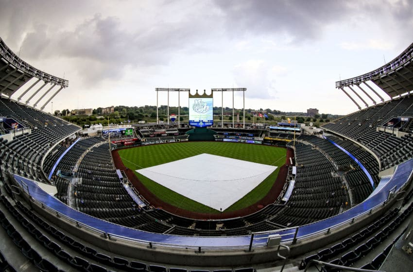 KANSAS CITY, MO - AUGUST 15: A general view of Kauffman Stadium before the game between the Toronto Blue Jays and the Kansas City Royals on August 15, 2018 in Kansas City, Missouri. (Photo by Brian Davidson/Getty Images)