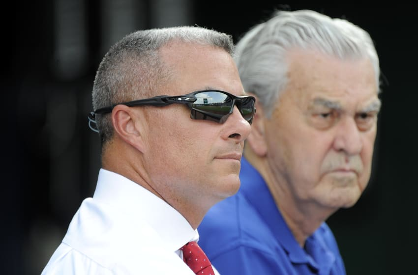 KANSAS CITY, MO - AUGUST 9: Kansas City Royals' general manager Dayton Moore and owner David Glass watch the Royals take batting practice prior to a game against the Chicago White Sox at Kauffman Stadium on August 9, 2016 in Kansas City, Missouri. (Photo by Ed Zurga/Getty Images)