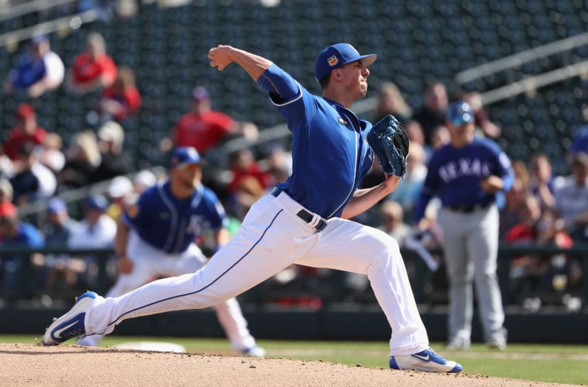 SURPRISE, AZ - FEBRUARY 26: Starting pitcher Kyle Zimmer #45 of the Kansas City Royals throws a pitch against the Texas Rangers during the first inning of the spring training game at Surprise Stadium on February 26, 2017 in Surprise, Arizona. (Photo by Christian Petersen/Getty Images)