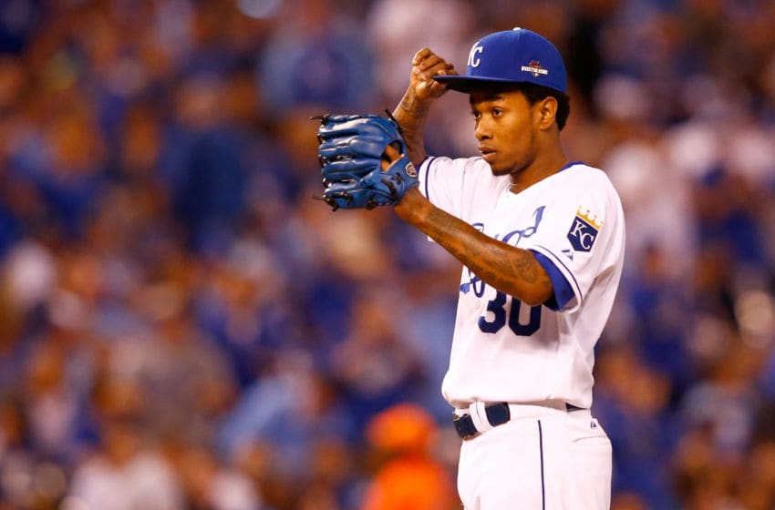 KANSAS CITY, MO - OCTOBER 23: Yordano Ventura #30 of the Kansas City Royals reacts in the sixth inning while taking on the Toronto Blue Jays in game six of the 2015 MLB American League Championship Series at Kauffman Stadium on October 23, 2015 in Kansas City, Missouri. (Photo by Jamie Squire/Getty Images)
