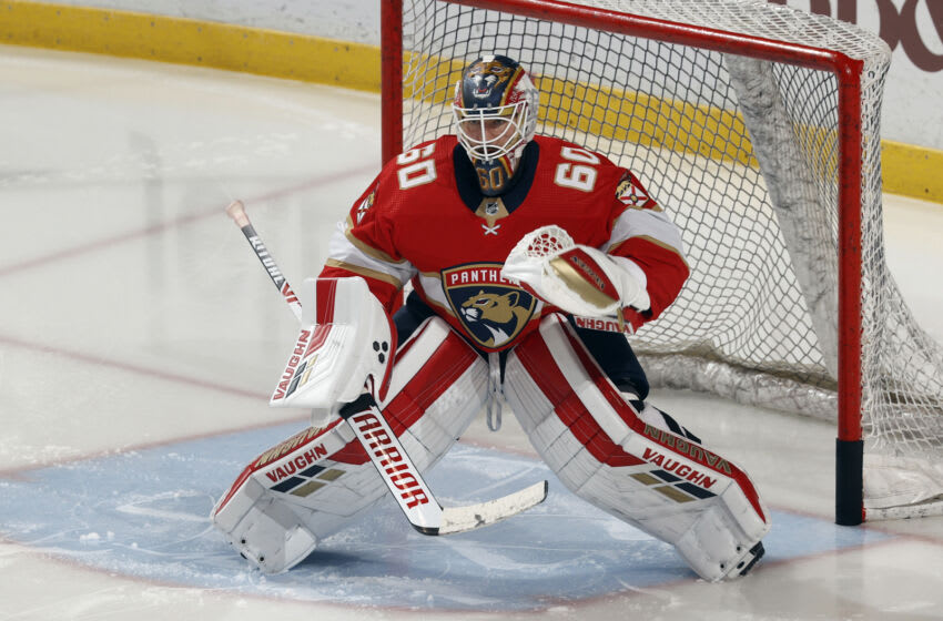 SUNRISE, FL - MAY 10: Chris Driedger #60 of the Florida Panthers warms up prior to the game against the Tampa Bay Lightning at the BB&T Center on May 10, 2021 in Sunrise, Florida. (Photo by Joel Auerbach/Getty Images)