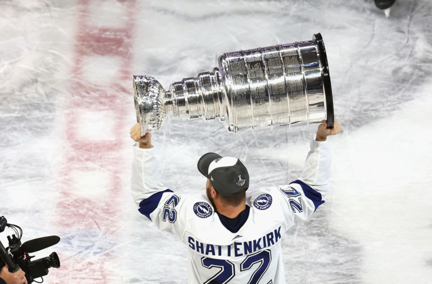 EDMONTON, ALBERTA - SEPTEMBER 28: Kevin Shattenkirk #22 of the Tampa Bay Lightning skates with the Stanley Cup following the series-winning victory over the Dallas Stars in Game Six of the 2020 NHL Stanley Cup Final at Rogers Place on September 28, 2020 in Edmonton, Alberta, Canada. (Photo by Bruce Bennett/Getty Images)