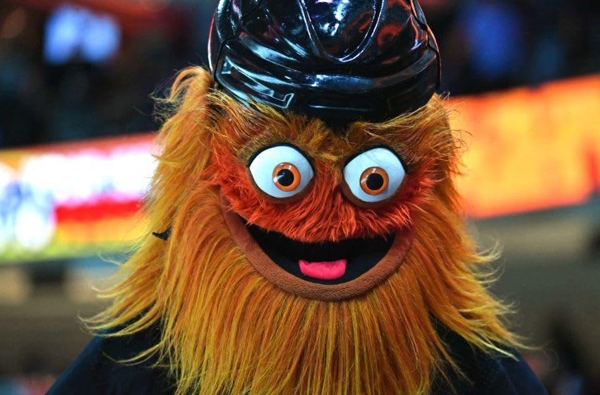 Nov 2, 2019; Philadelphia, PA, USA; Philadelphia Flyers mascot, Gritty performs during game against the Toronto Maple Leafs at Wells Fargo Center. Mandatory Credit: Eric Hartline-USA TODAY Sports