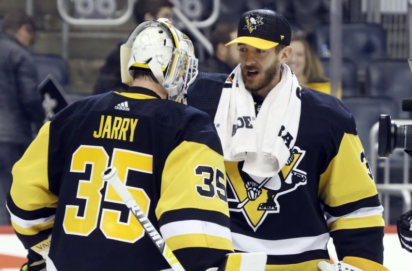 Seattle Kraken, Pittsburgh Penguins, Tristan Jarry (35), Matt Murray (30) Mandatory Credit: Charles LeClaire-USA TODAY Sports