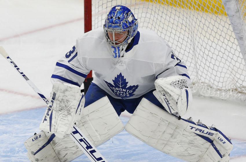 Seattle Kraken, Toronto Maple Leafs, Frederik Andersen Mandatory Credit: Perry Nelson-USA TODAY Sports