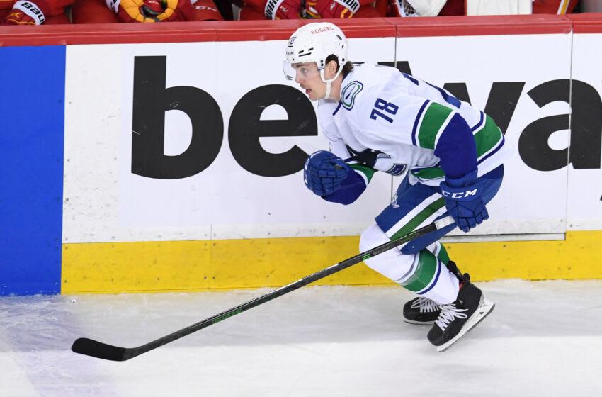 May 19, 2021; Calgary, Alberta, CAN; Vancouver Canucks forward Kole Lind (78) against the Calgary Flames at Scotiabank Saddledome. Mandatory Credit: Candice Ward-USA TODAY Sports