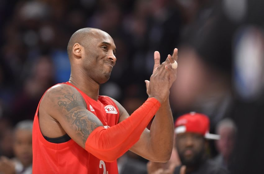Feb 14, 2016; Toronto, Ontario, CAN; Western Conference forward Kobe Bryant of the Los Angeles Lakers (24) reacts as he leaves the court for his last All Star game during the NBA All Star Game at Air Canada Centre. Mandatory Credit: Bob Donnan-USA TODAY Sports