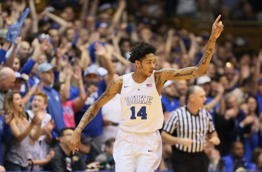Jan 9, 2016; Durham, NC, USA; Duke Blue Devils guard Brandon Ingram (14) reacts after hitting a three point shot in their game against the Virginia Tech Hokies at Cameron Indoor Stadium. Mandatory Credit: Mark Dolejs-USA TODAY Sports