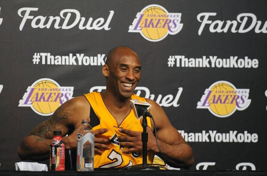 April 13, 2016; Los Angeles, CA, USA; Los Angeles Lakers forward Kobe Bryant (24) speaks to media following the 101-96 victory against the Utah Jazz at Staples Center. Mandatory Credit: Gary A. Vasquez-USA TODAY Sports