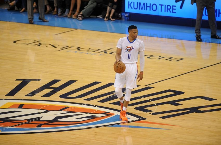 Apr 25, 2016; Oklahoma City, OK, USA; Oklahoma City Thunder guard Russell Westbrook (0) brings the ball up the court against the Dallas Mavericks during the second quarter in game five of the first round of the NBA Playoffs at Chesapeake Energy Arena. Mandatory Credit: Mark D. Smith-USA TODAY Sports