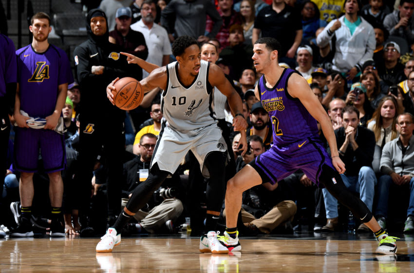 Los Angeles Lakers, DeMar DeRozan, Lonzo Ball (Photo by Andrew D. Bernstein/NBAE via Getty Images)