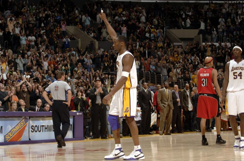 LOS ANGELES - JANUARY 22: Kobe Bryant #8 of the Los Angeles Lakers points in the air in a game he scored 81 points in against the Toronto Raptors on January 22, 2006 at Staples Center in Los Angeles, California. NOTE TO USER: User expressly acknowledges and agrees that, by downloading and/or using this Photograph, user is consenting to the terms and conditions of the Getty Images License Agreement. Mandatory Copyright Notice: Copyright 2006 NBAE (Photo by Noah Graham/NBAE via Getty Images)