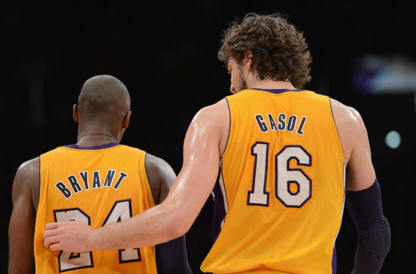 LOS ANGELES, CA - NOVEMBER 27: Kobe Bryant #24 of the Los Angeles Lakers and Pau Gasol #16 talk during a 79-77 Indiana Pacers win at Staples Center on November 27, 2012 in Los Angeles, California. NOTE TO USER: User expressly acknowledges and agrees that, by downloading and or using this photograph, User is consenting to the terms and conditions of the Getty Images License Agreement. (Photo by Harry How/Getty Images)