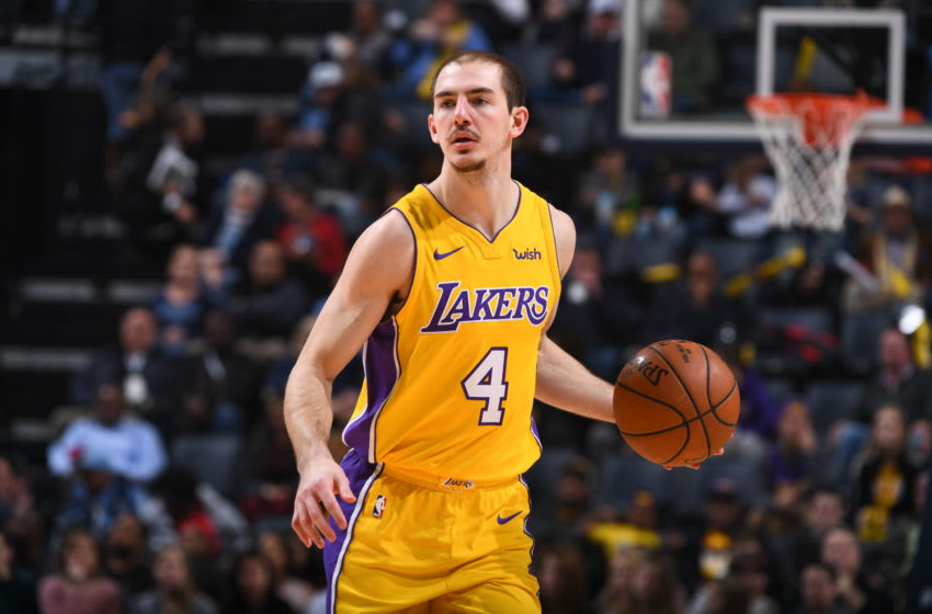 MEMPHIS, TN - JANUARY 15: Alex Caruso #4 of the Los Angeles Lakers handles the ball against the Memphis Grizzlies on January 15, 2018 at FedExForum in Memphis, Tennessee. NOTE TO USER: User expressly acknowledges and agrees that, by downloading and or using this photograph, User is consenting to the terms and conditions of the Getty Images License Agreement. Mandatory Copyright Notice: Copyright 2018 NBAE (Photo by Garrett Ellwood/NBAE via Getty Images)