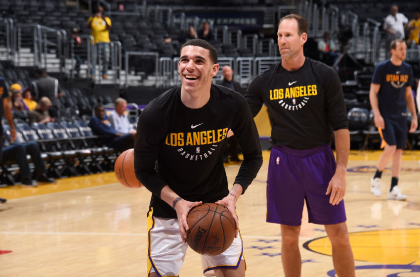 LOS ANGELES, CA - APRIL 8: Lonzo Ball #2 of the Los Angeles Lakers warms up before the game against the Utah Jazz on April 8, 2018 at STAPLES Center in Los Angeles, California. NOTE TO USER: User expressly acknowledges and agrees that, by downloading and/or using this Photograph, user is consenting to the terms and conditions of the Getty Images License Agreement. Man datory Copyright Notice: Copyright 2018 NBAE (Photo by Adam Pantozzi/NBAE via Getty Images)