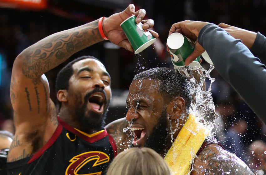 LeBron James, J.R. Smith, Los Angeles Lakers (Photo by Gregory Shamus/Getty Images)