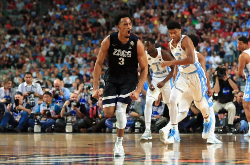 GLENDALE, AZ - APRIL 03: Johnathan Williams #3 of the Gonzaga Bulldogs reacts in the first half against the North Carolina Tar Heels during the 2017 NCAA Men's Final Four National Championship game at University of Phoenix Stadium on April 3, 2017 in Glendale, Arizona. (Photo by Ronald Martinez/Getty Images)