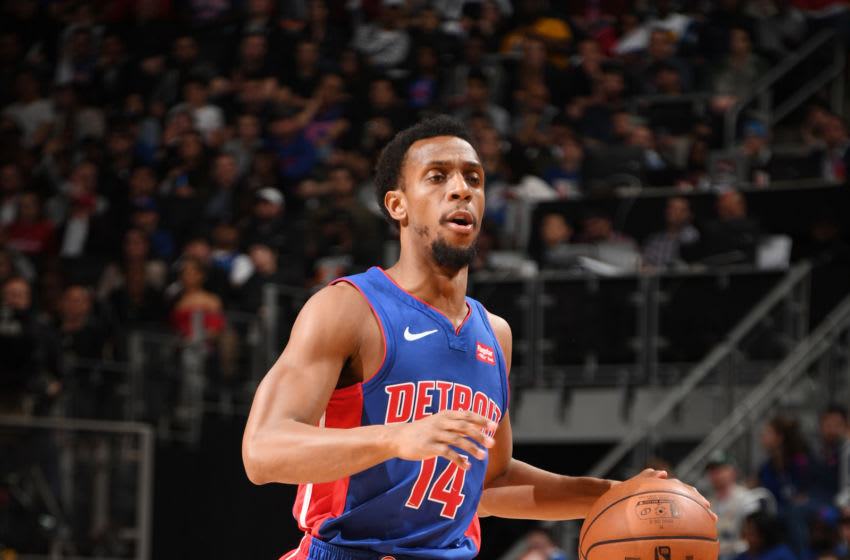 DETROIT, MI - APRIL 22: Ish Smith #14 of the Detroit Pistons handles the ball against the Milwaukee Bucks during Game Four of Round One of the 2019 NBA Playoffs on April 22, 2019 at Little Caesars Arena in Detroit, Michigan. NOTE TO USER: User expressly acknowledges and agrees that, by downloading and/or using this photograph, User is consenting to the terms and conditions of the Getty Images License Agreement. Mandatory Copyright Notice: Copyright 2019 NBAE (Photo by Chris Schwegler/NBAE via Getty Images)