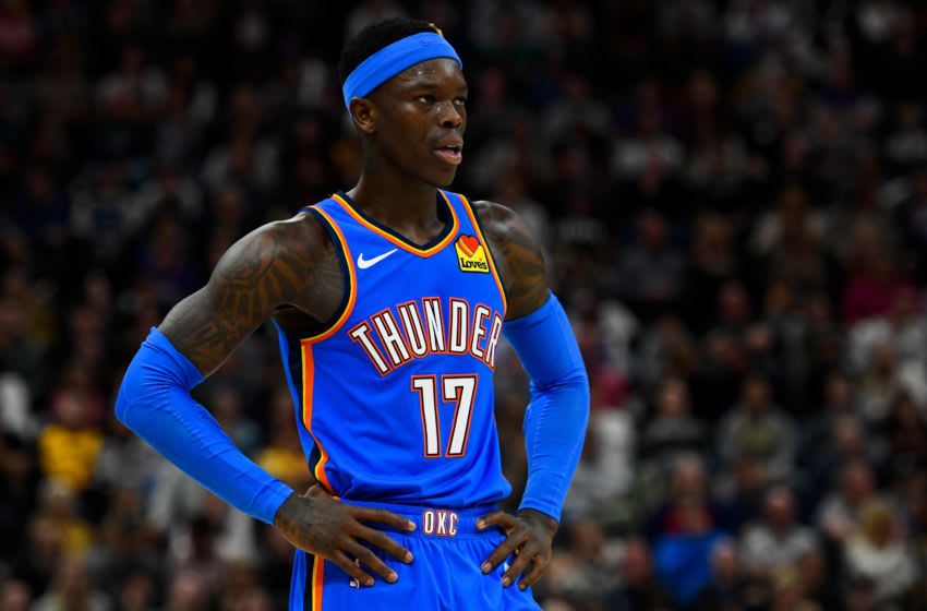 SALT LAKE CITY, UT - DECEMBER 09: Dennis Schroder #17 of the Oklahoma City Thunder looks on during a game against the Utah Jazz at Vivint Smart Home Arena on December 9, 2019 in Salt Lake City, Utah. NOTE TO USER: User expressly acknowledges and agrees that, by downloading and/or using this photograph, user is consenting to the terms and conditions of the Getty Images License Agreement. (Photo by Alex Goodlett/Getty Images)