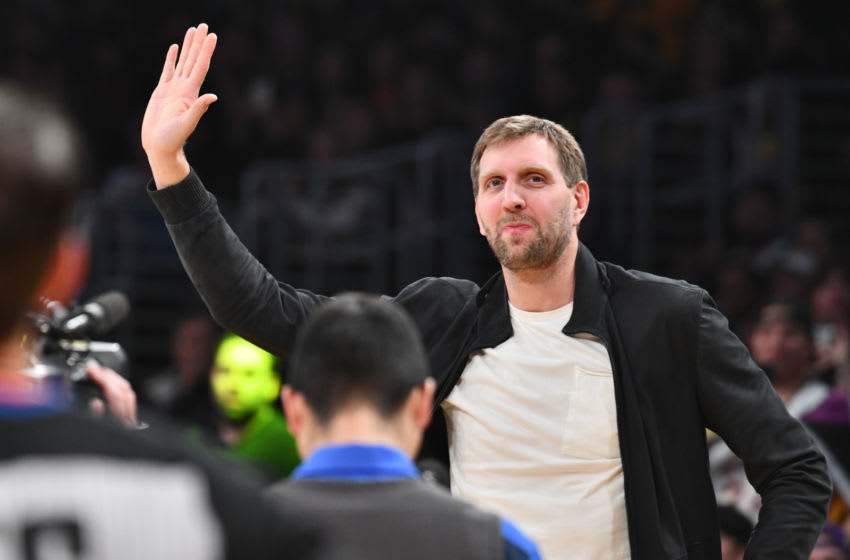 LOS ANGELES, CALIFORNIA - DECEMBER 01: Dirk Nowitzki attends a basketball game between the Los Angeles Lakers and the Dallas Mavericks at Staples Center on December 01, 2019 in Los Angeles, California. (Photo by Allen Berezovsky/Getty Images)