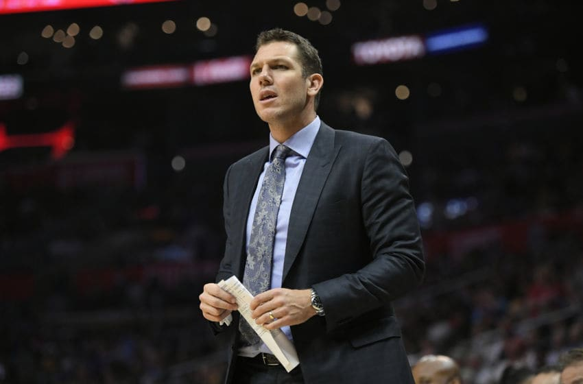 LOS ANGELES, CA - APRIL 11: Luke Walton of the Los Angeles Lakers during the first half at Staples Center on April 11, 2018 in Los Angeles, California. NOTE TO USER: User expressly acknowledges and agrees that, by downloading and or using this photograph, User is consenting to the terms and conditions of the Getty Images License Agreement. (Photo by John McCoy/Getty Images) *** Local Caption *** Luke Walton