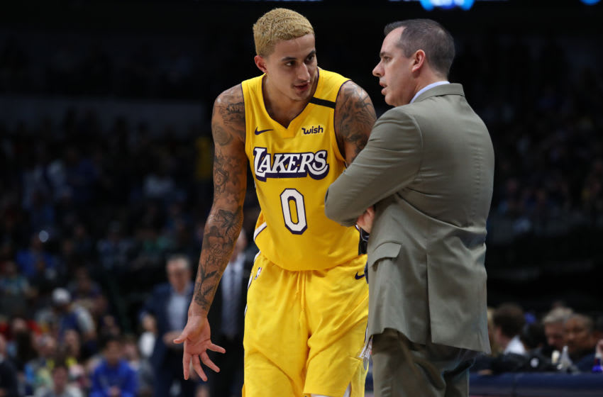 DALLAS, TEXAS - JANUARY 10: Kyle Kuzma #0 of the Los Angeles Lakers and Frank Vogel at American Airlines Center on January 10, 2020 in Dallas, Texas. NOTE TO USER: User expressly acknowledges and agrees that, by downloading and or using this photograph, User is consenting to the terms and conditions of the Getty Images License Agreement. (Photo by Ronald Martinez/Getty Images)