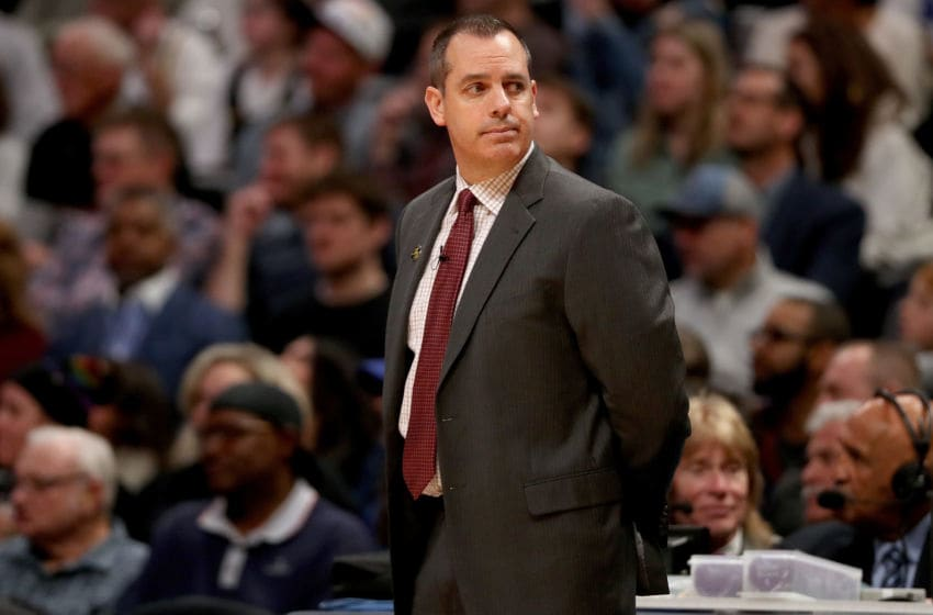 DENVER, COLORADO - FEBRUARY 12: Head coach Frank Vogel of the Los Angeles Lakers works the sidelines against the Denver Nuggets in the third quarter at Pepsi Center on February 12, 2020 in Denver, Colorado. NOTE TO USER: User expressly acknowledges and agrees that, by downloading and or using this photograph, User is consenting to the terms and conditions of the Getty Images License Agreement. (Photo by Matthew Stockman/Getty Images)