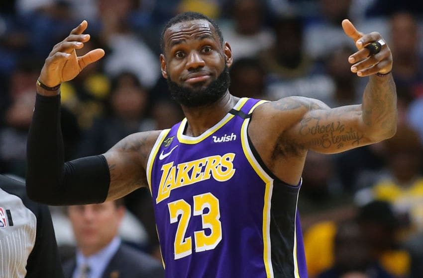 NEW ORLEANS, LOUISIANA - MARCH 01: LeBron James #23 of the Los Angeles Lakers reacts during the first half against the New Orleans Pelicans at the Smoothie King Center on March 01, 2020 in New Orleans, Louisiana. NOTE TO USER: User expressly acknowledges and agrees that, by downloading and or using this Photograph, user is consenting to the terms and conditions of the Getty Images License Agreement. (Photo by Jonathan Bachman/Getty Images)