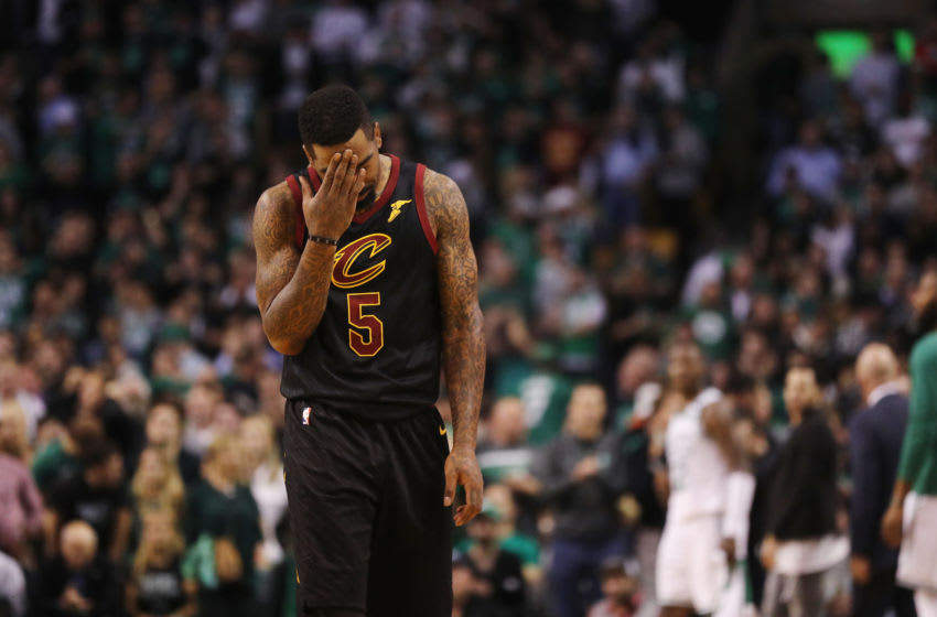 BOSTON, MA - MAY 27: JR Smith #5 of the Cleveland Cavaliers reacts in the first half against the Boston Celtics during Game Seven of the 2018 NBA Eastern Conference Finals at TD Garden on May 27, 2018 in Boston, Massachusetts. NOTE TO USER: User expressly acknowledges and agrees that, by downloading and or using this photograph, User is consenting to the terms and conditions of the Getty Images License Agreement. (Photo by Maddie Meyer/Getty Images)
