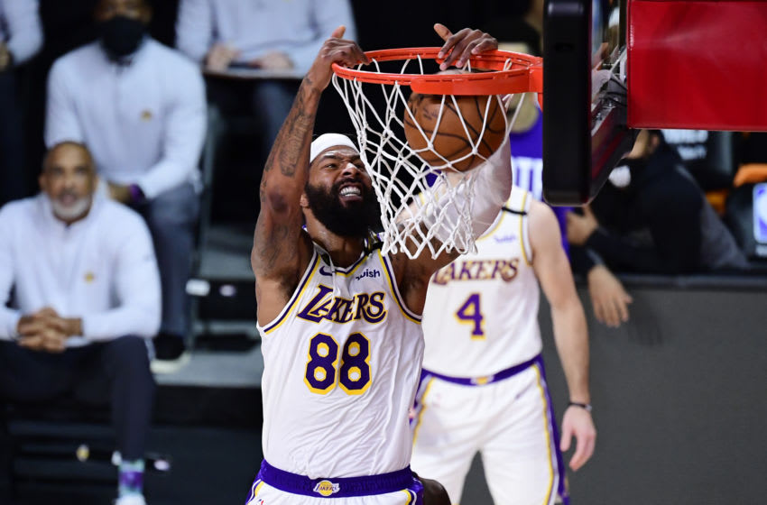 LAKE BUENA VISTA, FLORIDA - OCTOBER 04: Markieff Morris #88 of the Los Angeles Lakers dunks the ball during the first half against the Miami Heat in Game Three of the 2020 NBA Finals at AdventHealth Arena at ESPN Wide World Of Sports Complex on October 04, 2020 in Lake Buena Vista, Florida. NOTE TO USER: User expressly acknowledges and agrees that, by downloading and or using this photograph, User is consenting to the terms and conditions of the Getty Images License Agreement. (Photo by Douglas P. DeFelice/Getty Images)