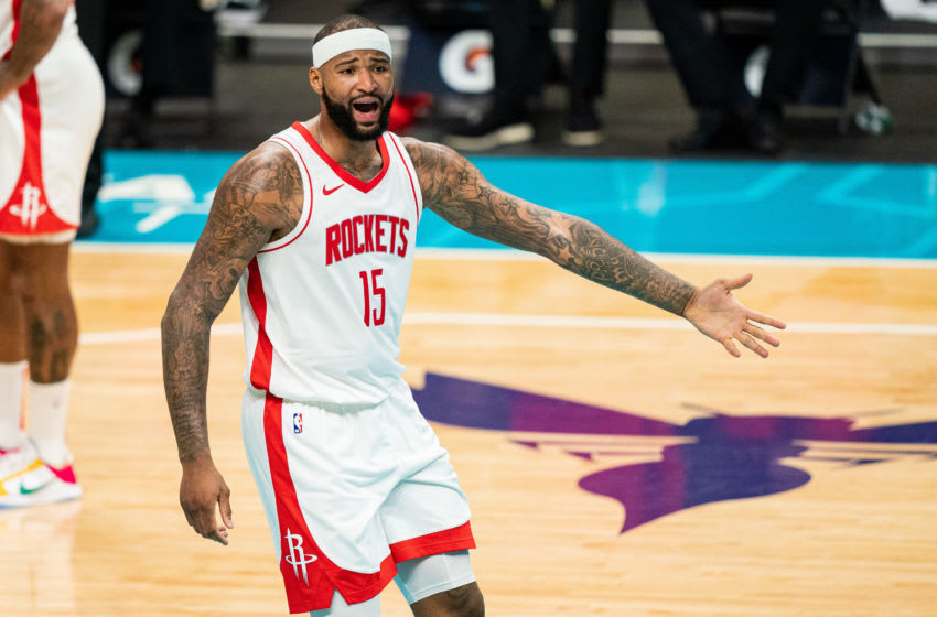 CHARLOTTE, NORTH CAROLINA - FEBRUARY 08: DeMarcus Cousins #15 of the Houston Rockets complains to referees during the third quarter against the Charlotte Hornets at Spectrum Center on February 08, 2021 in Charlotte, North Carolina. NOTE TO USER: User expressly acknowledges and agrees that, by downloading and or using this photograph, User is consenting to the terms and conditions of the Getty Images License Agreement. (Photo by Jacob Kupferman/Getty Images)