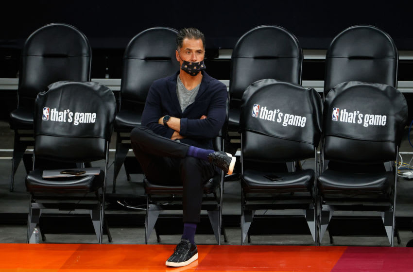 PHOENIX, ARIZONA - JUNE 01: General manager Rob Pelinka of the Los Angeles Lakers sits courtside before Game Five of the Western Conference first-round playoff series at Phoenix Suns Arena on June 01, 2021 in Phoenix, Arizona. NOTE TO USER: User expressly acknowledges and agrees that, by downloading and or using this photograph, User is consenting to the terms and conditions of the Getty Images License Agreement. (Photo by Christian Petersen/Getty Images)