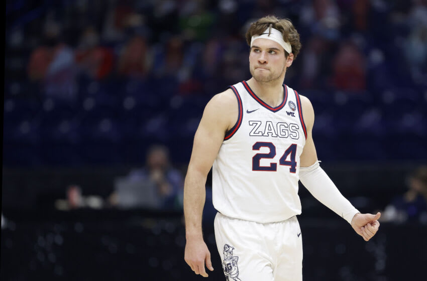 INDIANAPOLIS, INDIANA - APRIL 03: Corey Kispert #24 of the Gonzaga Bulldogs reacts in the first half against the UCLA Bruins during the 2021 NCAA Final Four semifinal at Lucas Oil Stadium on April 03, 2021 in Indianapolis, Indiana. (Photo by Jamie Squire/Getty Images)