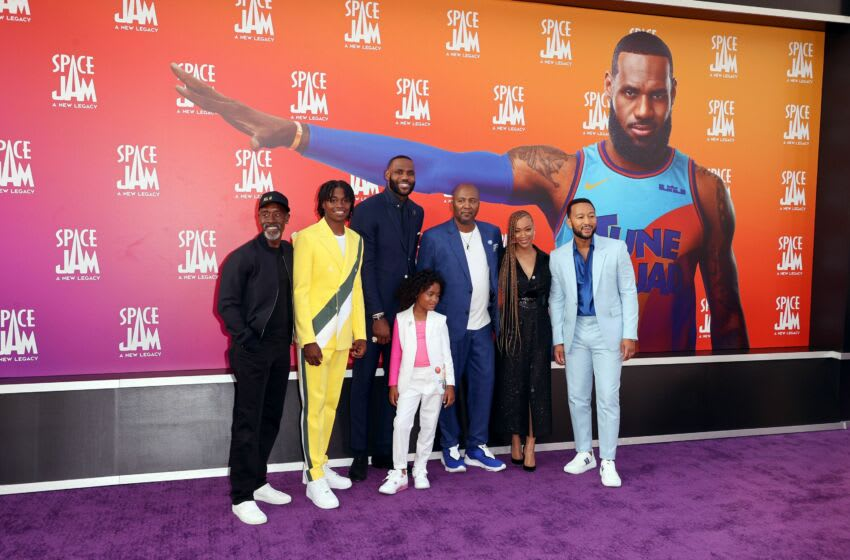 LOS ANGELES, CALIFORNIA - JULY 12: (L-R) Don Cheadle, Ceyair Wright, LeBron James, Harper Leigh Alexander, Malcolm D. Lee, Sonequa Martin-Green, and John Legend attend the premiere of Warner Bros