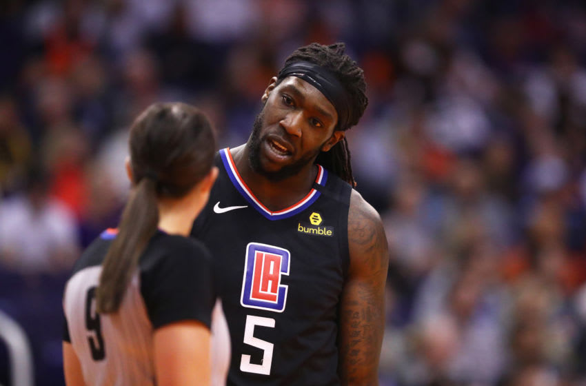 Feb 26, 2020; Phoenix, Arizona, USA; Los Angeles Clippers forward Montrezl Harrell (5) argues with a referee against the Phoenix Suns at Talking Stick Resort Arena. Mandatory Credit: Mark J. Rebilas-USA TODAY Sports