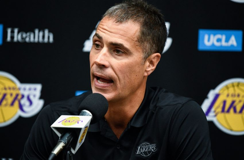 Sep 27, 2019; Los Angeles, CA, USA; Los Angeles Lakers general manager Rob Pelinka answers a question during the Lakers media day at the UCLA Health Training Center in El Segundo, CA. Mandatory Credit: Robert Hanashiro-USA TODAY Sports